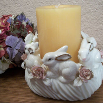 Candle Holder Porcelain Pillar Ring White Bunny Rabbits Pink Roses Cottage Chic Easter Home Decor