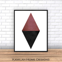 Geometric art, Triangle abstarct, Black watercolor print, scandinavian print, mid century modern, mountains print, home decor