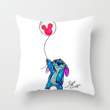 Stitch doesn't want to leave Disney World Throw Pillow by Trinity Bennett   Society6