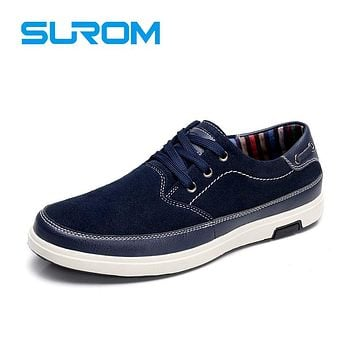 Men's Leisure shoes Suede Leather Material Handcrafted Lace up Chamois Leather Flats Casual Shoes For Men Boat shoes