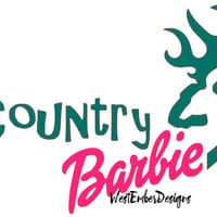 Country Barbie Browning Car Decal