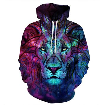 Hoodies Gradient color Lion head 3D Print Hip Hop Sports Funny Hoody Men Unisex Tracksuits