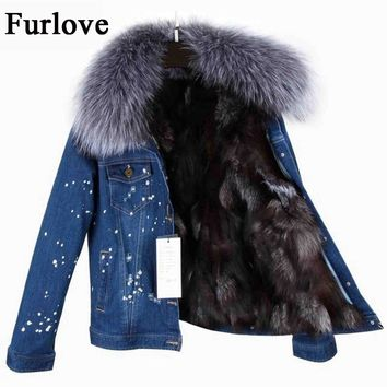 Jeans Jacket Women Fashion Denim Jackets Short Real Raccoon Fur collar Parka True Fox Fur Lining Winter Coat Thick female parkas