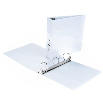 """2"""" 3-Way View Binder with Inner Pockets - White - CASE OF 6"""