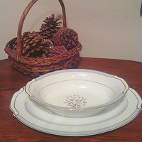 Vintage 1960's Valmont China,  made in Japan, Serving Platter and Serving Bowl, Excellent condition, 11 by 8 bowl, 14 1/2 by 10 1/2 platter
