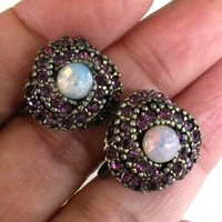 Vintage Faux Opal Purple Rhinestone Screw Back Earrings Harlequin Glass