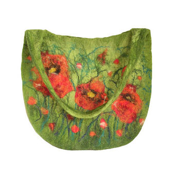 Felted bag felt bag floral felt handbag wool green orange red flower flowers boho OOAK