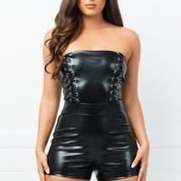 Olivia Faux Leather Romper