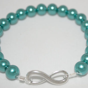 Teal Infinity Charm Bracelet for Women in Antiqued Silver, #Stretch, #Stackable, #Jewelry #infinity #loveit #musthaveit #bff
