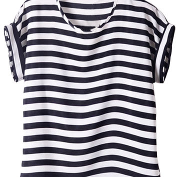 Striped Chiffon Short Sleeve Top