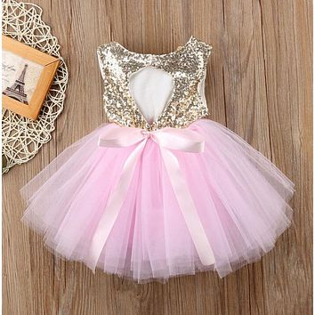 Baby Girl Dress Tutu Tulle Open Back Party Dress Formal Outfits / 3 color choices / sizes 12M-4T