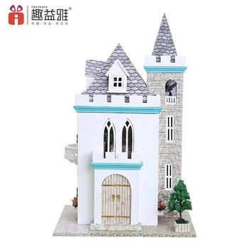 New Moonlight Castle Dollhouse Miniature DIY Handcraft Kit With Furniture and LED Lights