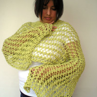 Clear Apple Green  Lace Wrap Hand Knitted Stole Woman Trendy Shoulder Wrap Chunky Cotton Summer Scarf NEW