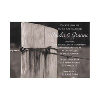 Rural Fence Post Country Wedding Invitation from Zazzle.com