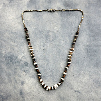 Black and White Pearl Necklace, Boho Necklace, Surfer Jewelry, Earthy Jewelry, Black Beaded Tribal Necklace, Rustic Bone Necklace
