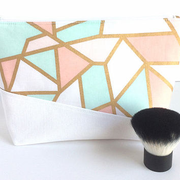 Bridesmaid Gift, Toiletry Bag, White and Gold Makeup Bag, Large Makeup Bag