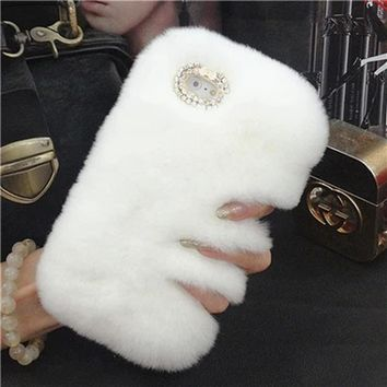 Luxury Phone Back Cases For iphone 5 5s SE Fashion Fluffy Rabbit Hair Skin Warm Winter Phone Cover Bling Diamong Fundas Capa