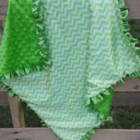 Baby Blanket Green & Chevron Minky
