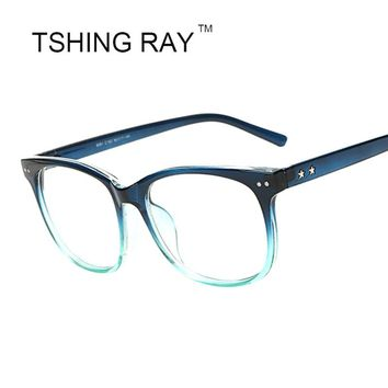 Fashion Square Vintage Eye Glasses Frame Star Women Reading Optical Plain Eyeglasses Gradient Retro Eyewear Female