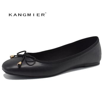 flats shoes women black Genuine leather Ballerina ballet flats square toe with bow tie  Autumn fashion KANGMIER