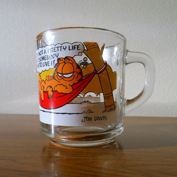 1970's Garfield Coffee Cup, McDonald's Garfield Mug, Garfield in Hammock Mug, Vintage Garfield Coffee Mug, Garfield Mug, Garfield and Odie