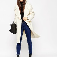 ASOS TALL Coat in Oversized Fit with Turn Back Cuff at asos.com
