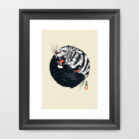 Taichi Tiger Framed Art Print by Steven Toang