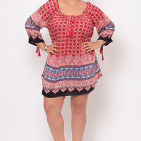 Plus Size Off The Shoulder Printed Border Dress- Red