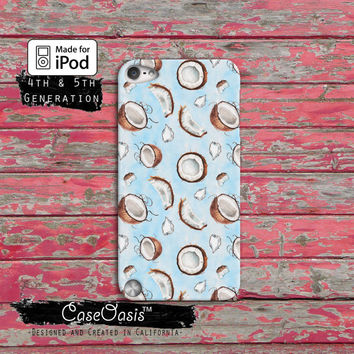 Coconut Shell Tropical Pattern Fruit Summer Blue Case iPod Touch 4th Generation or iPod Touch 5th Generation or iPod Touch 6th Gen Rubber