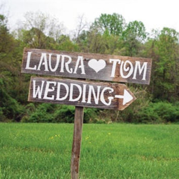 Rustic Wedding Signs Trueconnection Outdoor Weddings Hand Painted Reclaimed Wood Vintage