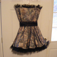 Wedding Dress & Veil Short Strapless Camo by 1standMainDesigns