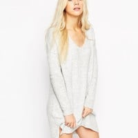 ASOS Jumper Dress In Soft Yarn With Deep V