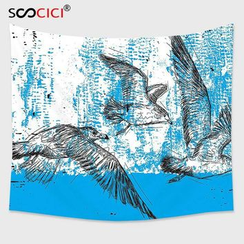 Cutom Tapestry Wall Hanging,Seagulls Decor Little Seagull and Friends Flying Hand Drawn Style Sketch Grunge Abstract Print
