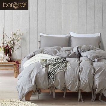 Cool Bonenjoy Queen Size Bedding Set Grey Color Soft Cotton Polyester King Size Bedding Kit Ties Hotel Used Bed Covers Quilt CoverAT_93_12