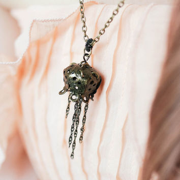 SOLD Jellyfish Filigree Necklace in antiqued brass