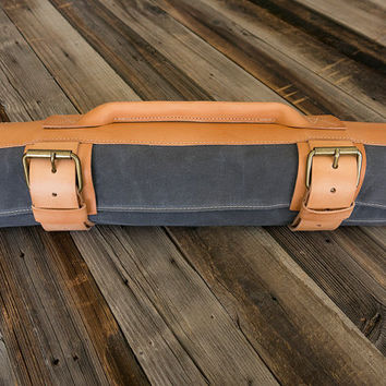 Knife Roll.  Grey Waxed Canvas & Hand Oiled VegetableTanned Leather, by fullgive