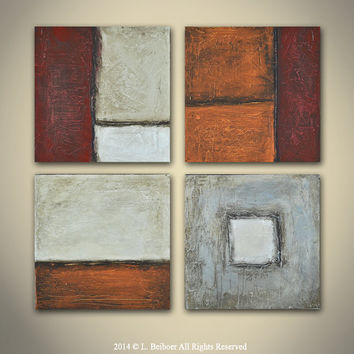Textured abstract painting 4 panel earth tones contemporary art modern painting acrylic abstract
