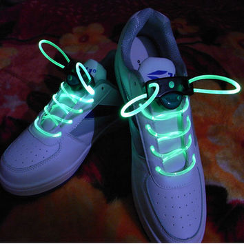 New LED Flash Luminous Light Up Glow Nylon Strap Shoelace Shoe Laces Party Disco