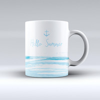 The Hello Summer Anchor Watercolor Blue V1 ink-Fuzed Ceramic Coffee Mug
