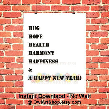SALE Happy New Year with Inspirational words, Tree shape, black & white with fireworks, walldecor, printable last minute - instant download