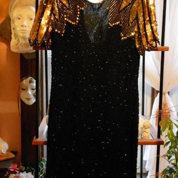 "Vintage Designer Dress Prom NEVER WORN Gold & Black ""RITZ"" Glamourous Sequined"