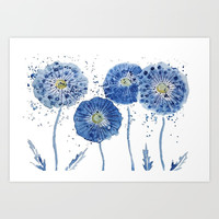 four blue dandelions watercolor Art Print by Color and Color