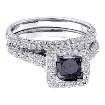 14kt White Gold Womens Princess Black Color Enhanced Diamond Bridal Wedding Engagement Ring Band Set 1-1/4 Cttw