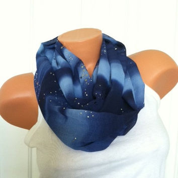 Midnight Blue Sparkle Infinity Scarf - Sparkly Chiffon, Midnight Blue Cobalt Blue Silver Stylish Holiday Scarf, Versatile Style Gift for Her