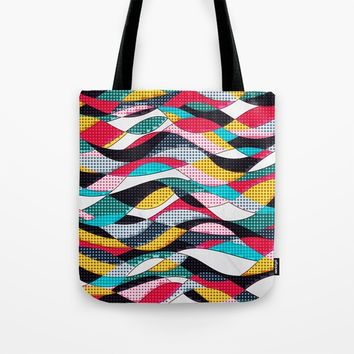 Pop Art Waves Tote Bag by Samantha Lynn