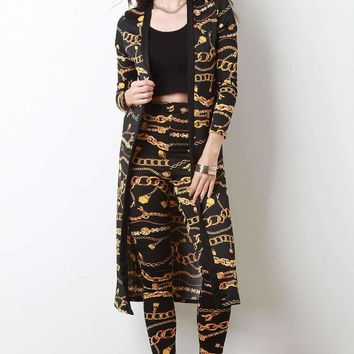Chain Print Longline Cardigan with Leggings Set