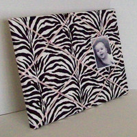 Zebra fabric with Pink accents ~ French Memo Board by ToileChicBoutique