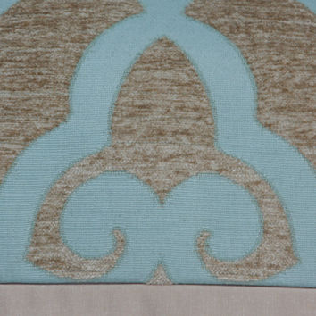 "Spa blue & tan chenille fretwork decorative pillow cover. 18"" x 18"". 20"" x 20"". 22"" x 22"". toss pillow. accent pillow."