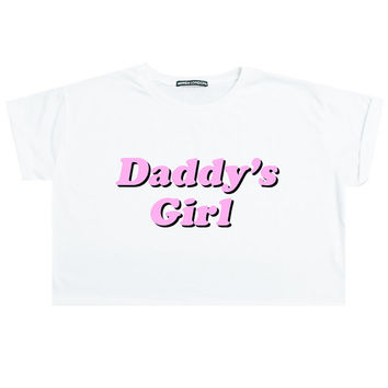DADDY girl CROP TOP t shirt tee womens girl funny tumblr hipster grunge goth retro 90s fashion festival barbie kawaii cute japanese harajuku