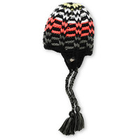 Volcom Girls Ace Black and Coral Stripe Beanie